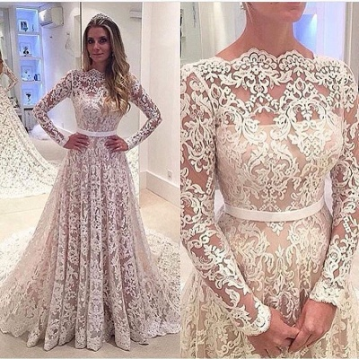 A-Line Bowknot Backless Lace Long Sleevess Glamorous Wedding Dress_4