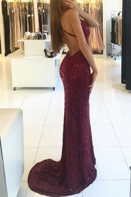 Sexy Burgundy Lace Prom Dresses V-Neck Open Back Mermaid Evening Gowns_3