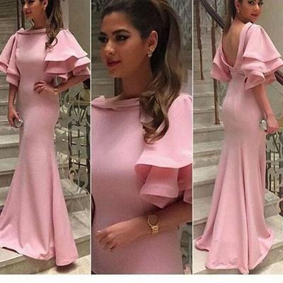 Pink Mermaid Prom Dresses Ruffles Sleeves Open Back Formal Dresses_3