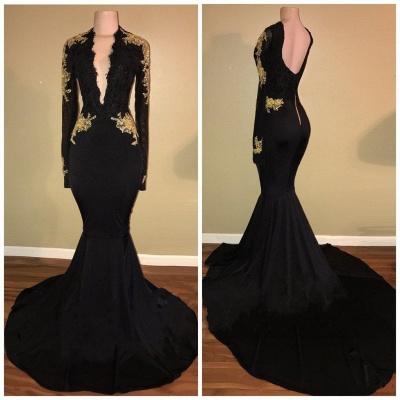 Sexy Black Mermaid Prom Dresses | Long Sleeves V-Neck  Evening Gowns_3