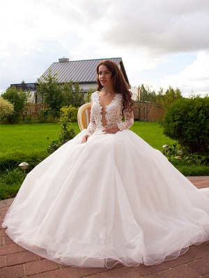 Long Sleeves Tulle Zipper Glamorous Princess Lace Button Wedding Dress_5
