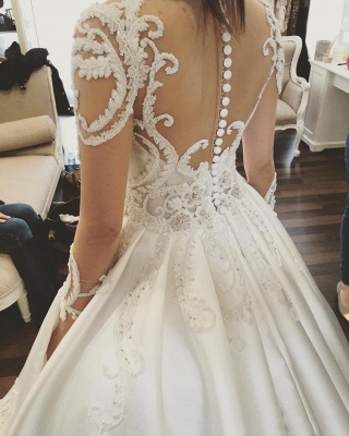 Charming Princess Ball Gown Wedding Dresses | See Through Long Sleeves Chapel Train Bridal Gowns_4