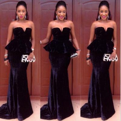 Sexy MermaidFloor-Length Simple  Velvet Sweetheart Black Prom Dress_3