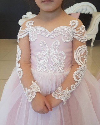 Lace Long-Sleeve Romantic Flower Ball Gown Girls Dresses_4