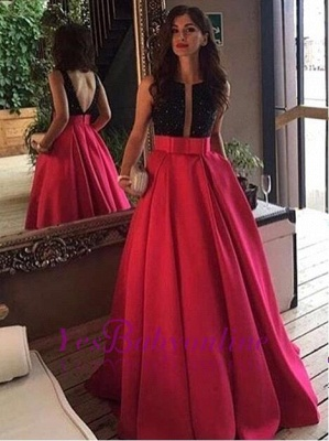 Sleeveless Neckline Black-red Scoop Prom Dress_1