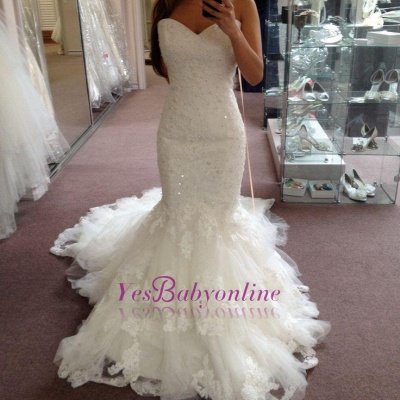 Tiered Tulle Appliques Sequins Sweetheart Glamorous Mermaid Wedding Dresses_1