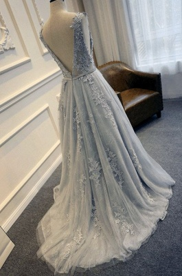 Lace-Appliques Sleeveless Long Backless A-line Prom Dresses_3
