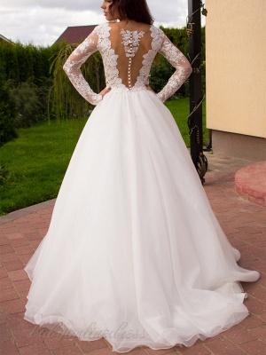 Long Sleeves Tulle Zipper Glamorous Princess Lace Button Wedding Dress_4