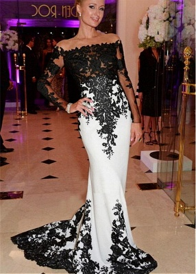 Black & White Prom Dresses Off the Shoulder Long Sleeves Lace Appliques Mermaid Evening Gowns_1