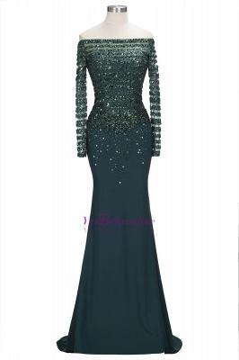 Sequins Mermaid Dark-Green off-the-Shoulder Long-Sleeves Evening Dress_6