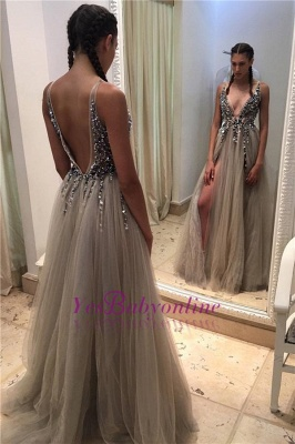 2019 Luxury Prom Dresses Deep-V-neck Crystals Open Back Side Slit A-line Evening Gowns_1
