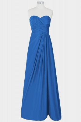 A Line Chiffon Strapless Sweetheart Floor Length Bridesmaid Dresses with Ruffles_3