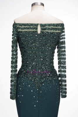 Sequins Mermaid Dark-Green off-the-Shoulder Long-Sleeves Evening Dress_3