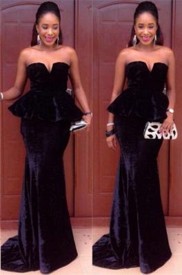 Sexy MermaidFloor-Length Simple  Velvet Sweetheart Black Prom Dress_2