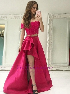 2 Special Lace Dresses With Cocktail Sleeve A-Line Fuchsia Piece Occasion Dresses_3