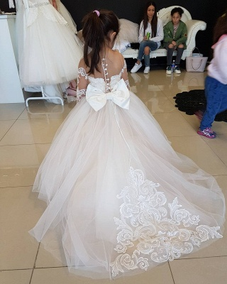 Lace Long-Sleeve Romantic Flower Ball Gown Girls Dresses_5