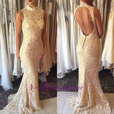 Elegant Sleeveless High-Neck Open-Back Mermaid Lace Prom Dress_1