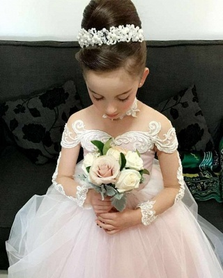 Lace Long-Sleeve Romantic Flower Ball Gown Girls Dresses_6
