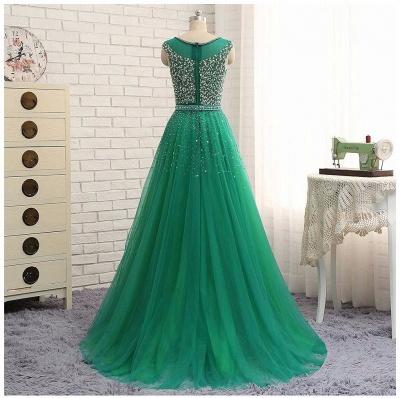 Green Sleeveless A-Line Beaded Brilliant Scoop  Prom Dresses_3