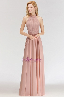 Halter A-line Chiffon Floor-length Backless Sleeveless Fashion Bridesmaid Dress_1