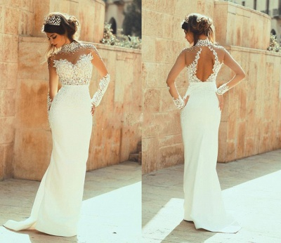 Glamorous Column High-Neck  See Through Open Back Lace Wedding Dresses_3