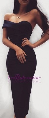 shealth Tea length Elegant Black Sweatheart Homecoming Dress_1