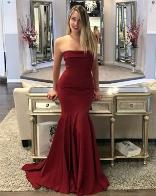 Strapless Mermaid-Prom-Dresses Sweep-Train Burgundy Long Evening Gowns_3