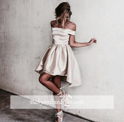 Glossy A-line Light Champagne Homecoming Dresses   Off-the-Shoulder Hi-Lo Graduation Dresses_1
