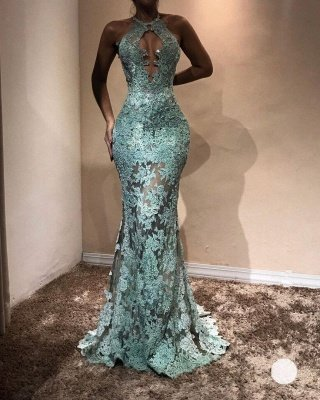 Halter Sleeveless Mermaid Prom Dresses | Lace Appliques Long Evening Gowns_3