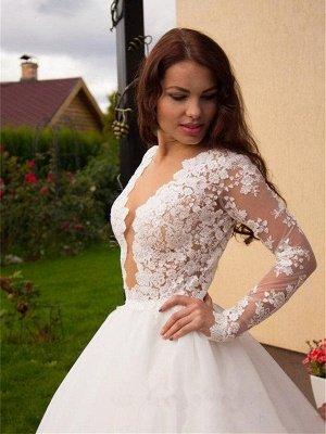Long Sleeves Tulle Zipper Glamorous Princess Lace Button Wedding Dress_2