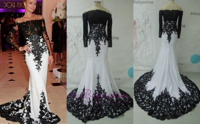 Black & White Prom Dresses Off the Shoulder Long Sleeves Lace Appliques Mermaid Evening Gowns_4