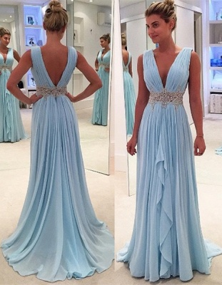 Appliques V-Neck Ruffles Glamorous Sleeveless Blue A-Line Prom Dresses_2