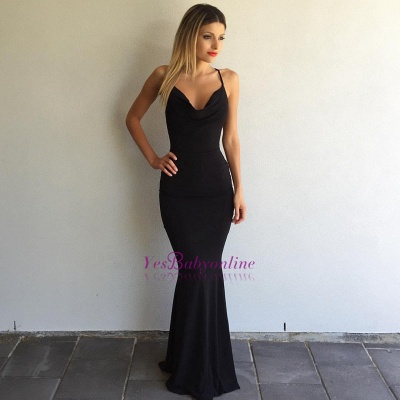 Simple Black Prom Dresses Crisscross Back Sexy Mermaid Evening Gowns BA4507_1