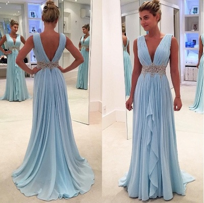 Appliques V-Neck Ruffles Glamorous Sleeveless Blue A-Line Prom Dresses_3