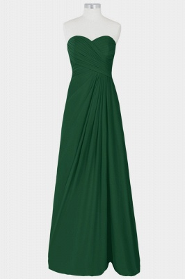 A Line Chiffon Strapless Sweetheart Floor Length Bridesmaid Dresses with Ruffles_5