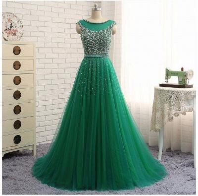 Green Sleeveless A-Line Beaded Brilliant Scoop  Prom Dresses_4