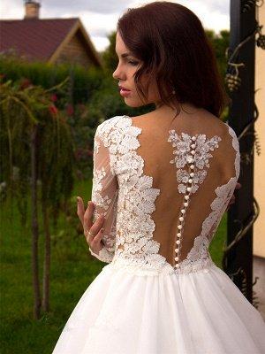 Long Sleeves Tulle Zipper Glamorous Princess Lace Button Wedding Dress_3