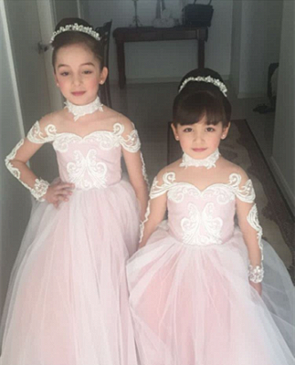Lace Long-Sleeve Romantic Flower Ball Gown Girls Dresses_3