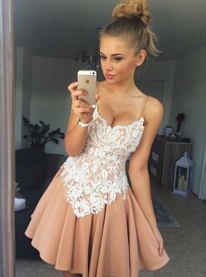 Elegant Spaghetti-Strap Homecoming Dresses | A-Line Appliques Cocktail Dresses_1