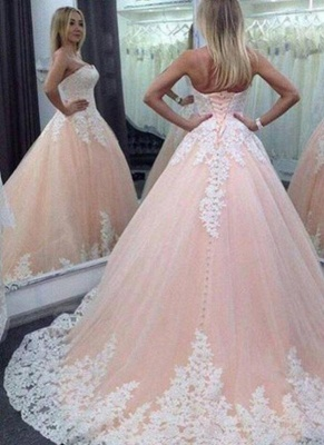 Pink Ball Gown Sweet 16 Dresses | Strapless White Appliques Quinceanera Dress_1