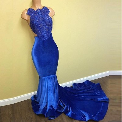 Blue Lace Mermaid Prom Dresses   Sleeveless Long Evening Gowns_3
