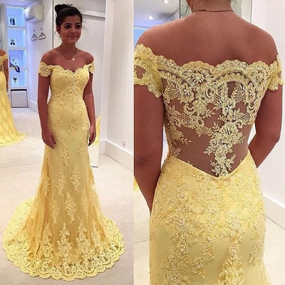 Mermaid Lace Yellow Off-the-Shoulder Prom Dresses_4