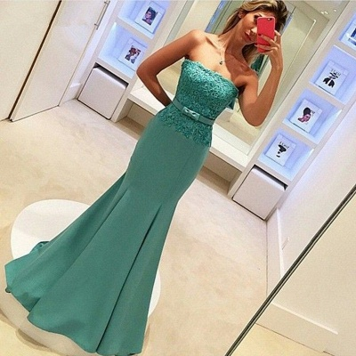 2019 Strapless Mermaid Prom Dresses Lace Bowknot Ruched Evening Gowns_3