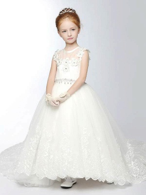 Tulle Scoop Appliques Ankle-Length Flower Girl Dress with Chapel Train_1