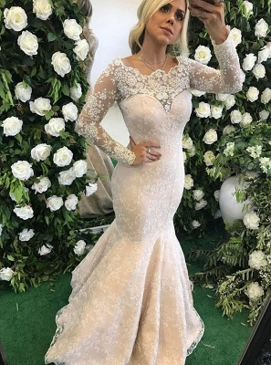 Elegant Mermaid Evening Dresses | Lace Long Sleeves Prom Dresses with Pearls_1