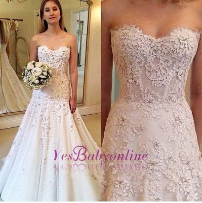 Zipper Lace Appliques  Glamorous Sweetheart Wedding Dresses_1