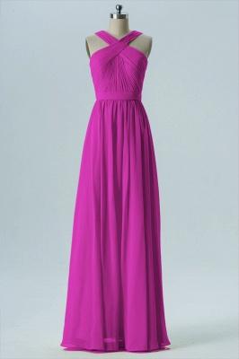 A Line Chiffon Floor Length Bridesmaid Dresses With Ruffle_3