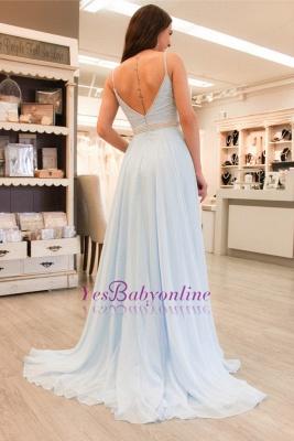 Sleeveless Spaghetti-Strap Beads Elegant A-line Prom Dress_1