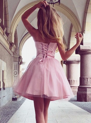 Sweetheart Pink Homecoming Dresses | A-Line Sleeveless Cocktail Dresses_3