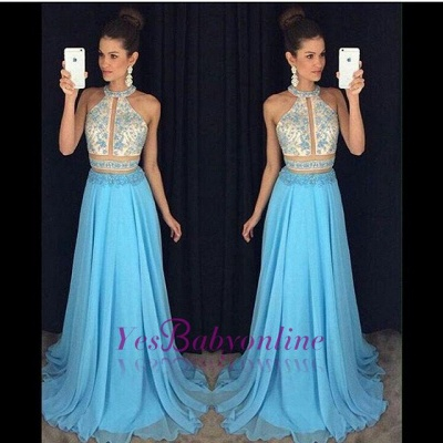 Sweep-Train Halter Newest Lace-Appliques Sleeveless A-line Prom Dress_1